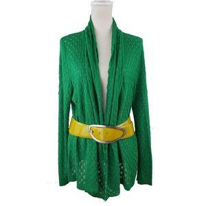 Alberto Makali Lightweight Emerald Open Knit Cardi
